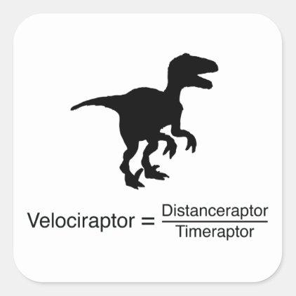 velociraptor funny science square sticker