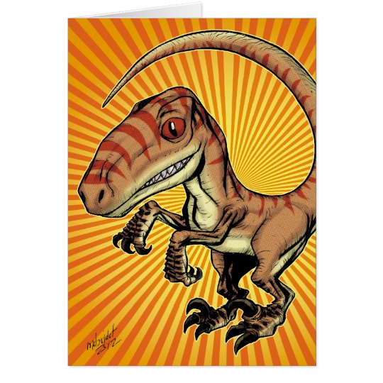 Velociraptor Raptor Dinosaur by Marco D Carillo Card