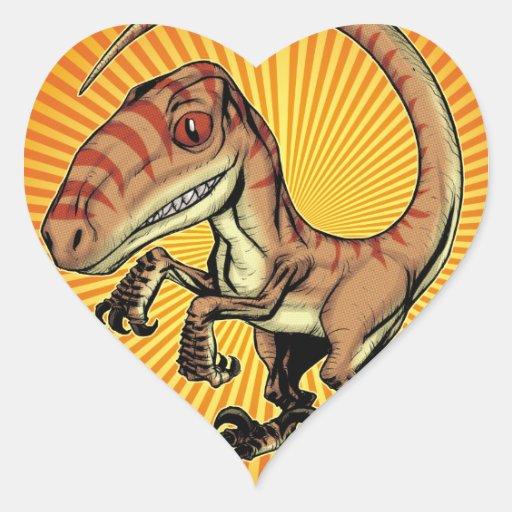 Velociraptor Raptor Dinosaur by Marco D Carillo Heart Sticker