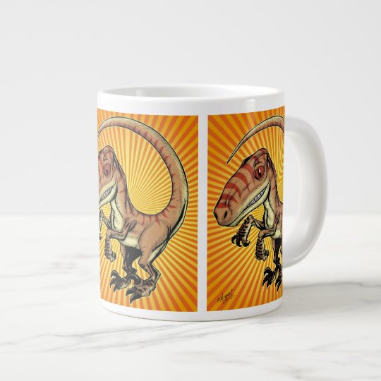 Velociraptor Raptor Dinosaur by Marco D Carillo Large Coffee Mug