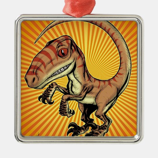 Velociraptor Raptor Dinosaur by Marco D Carillo Metal Ornament