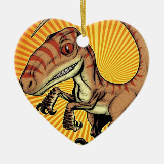 Velociraptor Raptor Dinosaur by Marco D Carillo Christmas Ornaments