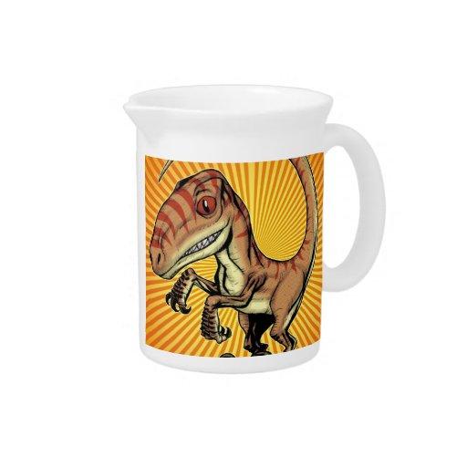 Velociraptor Raptor Dinosaur by Marco D Carillo Beverage Pitcher
