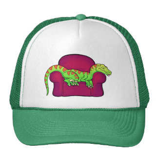 Velociraptor sleeping on couch- Five more minutes! Trucker Hat