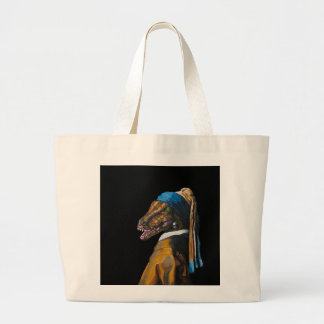 Velociraptor with a Pearl Earring Large Tote Bag