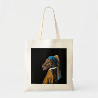 Velociraptor with a Pearl Earring Tote Bag
