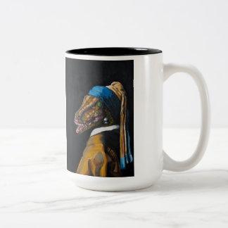 Velociraptor with a Pearl Earring Two-Tone Coffee Mug