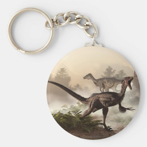 Velociraptors Basic Round Button Keychain