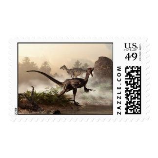 Velociraptors Postage Stamp
