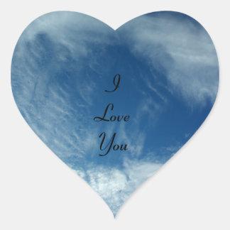 Velos en el cielo pegatina en forma de corazón