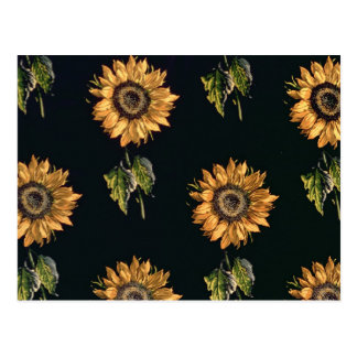 Velours au Sabre silk decoration of Sunflowers Postcard