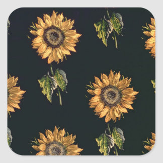 Velours au Sabre silk decoration of Sunflowers Stickers