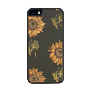 Velours au Sabre silk decoration of Sunflowers Wood Phone Case For iPhone SE/5/5s