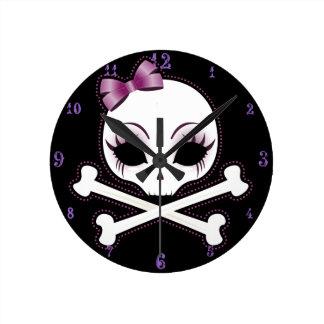 VelusaSkullie Round Clock