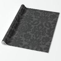 Velvet Black Damask Wrapping Paper