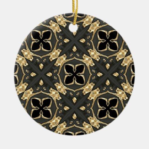Velvet Black & Gold Ceramic Ornament