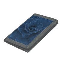 Velvet blue rose trifold wallet