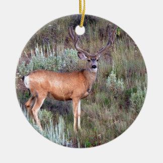 Velvet buck Double-Sided ceramic round christmas ornament