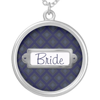 Velvet Diamonds (Blue) (Wedding) Round Pendant Necklace