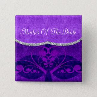 Velvet Look Deco Heart Swirl Purple Hues Wedding Pinback Button