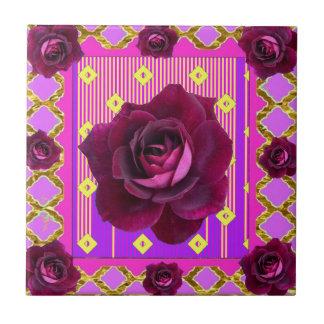 Velvet Purple Rose Gypsy Style Pattern Gifts Tile