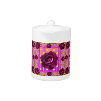 Velvet Purple Rose Gypsy Style Pattern Teapot