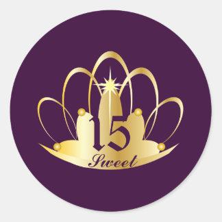 Velvet Purple Sweet 15 Tiara Sticker-Customize