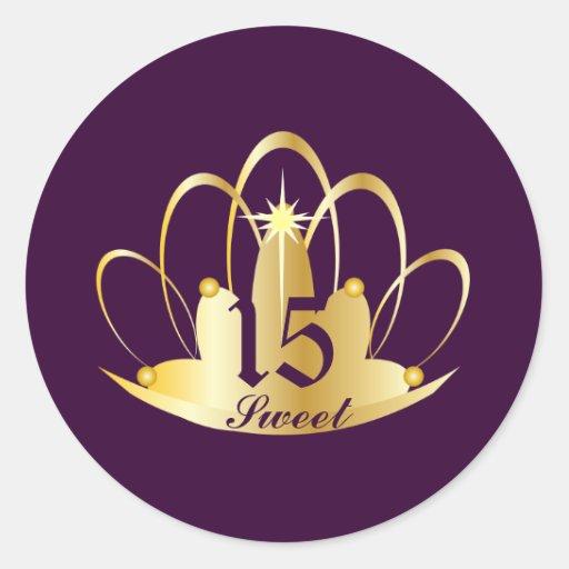 Velvet Purple Sweet 15 Tiara Sticker-Customize Classic Round Sticker