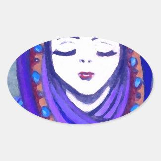 Velvet Queen Shae Fantasy Art Style Oval Sticker