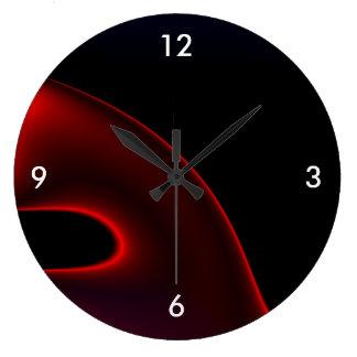 Velvet Red Black Abstract Large Clock