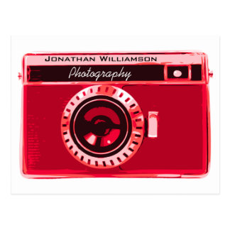 Velvet Red Camera Photography Business Postcard