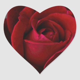 Velvet Red Rose of Romance Heart Sticker