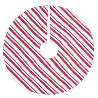 Velvet ribbon stripes, deep red and white brushed polyester tree skirt