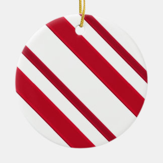 Velvet ribbon stripes, deep red and white ceramic ornament