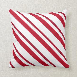 Velvet ribbon stripes, deep red and white throw pillow