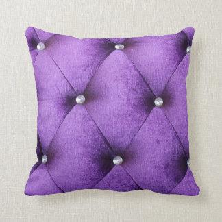 Velvet vintage chic purple pink cafe style textile pillow