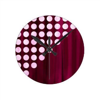 Velvet With White Polka Dots Pattern Round Clock