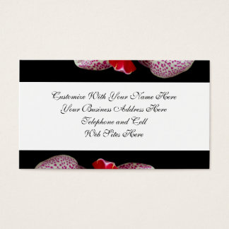 Velvety Magenta Spotted Orchids on Black Business Card