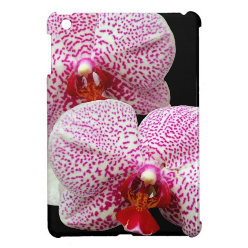 Velvety Magenta Spotted Orchids on Black Case For The iPad Mini