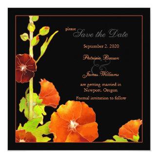 Velvety Red Hollyhock Wedding Save the Date Card