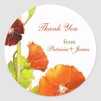 Velvety Red Hollyhocks Wedding Thank You Classic Round Sticker