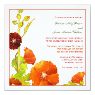 Velvety Red + White Hollyhock Wedding Invitation