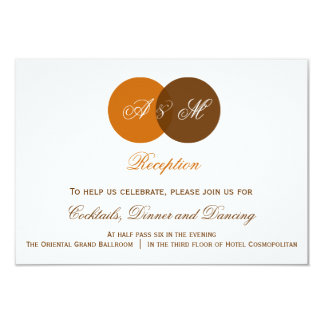 Ven Diagram Monogram Autumn Wedding Reception Card