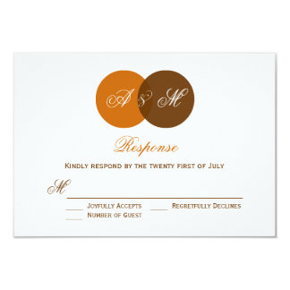 Ven Diagram Twin Monogram Autumn Wedding RSVP Card