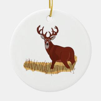 Venado de cola blanca adorno navideño redondo de cerámica