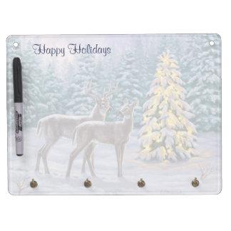 Venado de cola blanca y árbol de navidad pizarras blancas