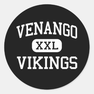 Venango - Vikingos - católico - ciudad del aceite Pegatina Redonda