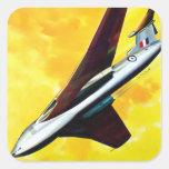 Vencedor retro de la página de Handley del avión Calcomanias Cuadradas