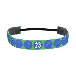 Venda azul y verde de encargo del baloncesto