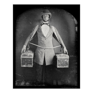 Vendedor ambulante con el Daguerreotype 1848 de lo Poster